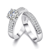 Wholesale Round Brilliant Ring - Round Brilliant Cubic Zirconia 18KGP Gold White Gold Plated Wedding Engagement Ring Band Set Sizes 5 to 9
