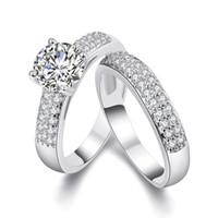 ingrosso anello di fidanzamento 18kgp-Tondo Brilliant Cubic Zirconia 18KGP Oro / Bianco placcato oro Wedding Anello di fidanzamento Band Set Taglie dalla 5 alla 9