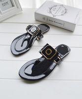 Wholesale girls sandals big heel resale online - 2016 new summer woman girl Flat sandals T the beach shoes Flip flops white black big Size F1