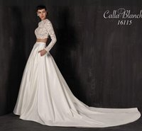 Wholesale Casablanca Silk Wedding Dresses - Vintage Ivory Silk Mikado Bridal Two Pieces 2016 Shear Long Sleeve Lace Bodice Wedding Gowns Flare Satin Modest Wedding Gowns