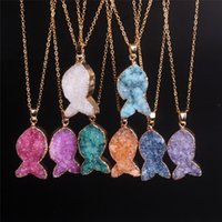 Wholesale Market Fishes - Natural Agate Drusy Quartz Geode Stone Pendant Bead Necklace Marketing Trendy Female Mixed Dyed Plated Amethyst Druzy Crystal Fish Necklace