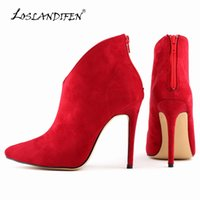 Wholesale Womens Size Nude Heels - LOSLANDIFEN Hot sale Womens Faux Velvet Sexy Pointed Toe High Heels shoes solid Stiletto Ankle Boots Shoes Size US 4 - 11 769-1VE