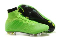 Wholesale Soccer Cleats Carbon Fiber - Green Mercurial superfly FG CR7 ACC mens Football shoes Soccer cleats Carbon fiber bottom men football sneakers size 39-45