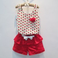 Wholesale Girls 2pc Set Casual - 2016 summer children sets girls floral chiffon shirt tops tshirt + girls red Ruffle bow shorts with bow belt kids princess shorts 2pc sets