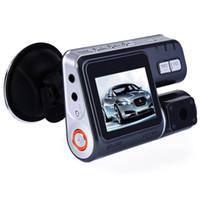 çift çizgi kameraları gps toptan satış-330 Derece Rotasyon Çift Lens Kamera Oto Araba DVR Çift Kamera HD 1080 P Çizgi Kam Kara Kutu Ile Sürüş Kaydedici Park Arka