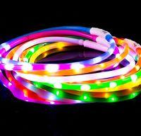 teddy usb großhandel-Hundehalsbänder USB Luminous Haustierkragen LED-Licht USB Lade Hundehalsband Teddy Flash Kragen Heimtierbedarf Großhandel