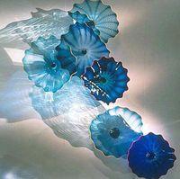 italienisches kunstglas großhandel-Heißer Verkaufs-Blau geblasenem Glas hängende Wand Teller Italian Design Murano Blumen-Glasplatten Wall Art Home Hotel Dekorative Glaswandplatten