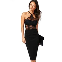 Wholesale Lace Splice Dress - New Women Sexy Off Shoulder Dress Hollow Bodycon Package Hip Lace Splicing Dress Pencil Slim Sheath Dress For Party Clubwear