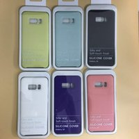 Wholesale Finish Iphone - For Samsung S8 Plus case Original Official Silicone liquid Cases Silky Soft-touch finish Cover with Retail boxes for samsung galaxy s8 plus