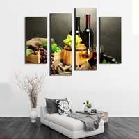 Wholesale Canvas Oil Paintings Fruits - 4 Picture Combination Wall Art Painting Fruit And Red Wine Beside candlestick Pictures Prints Canvas For Home Modern Decor