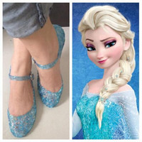 Wholesale Girls Crystal Wedge - Frozen Summer Girls Sandals Queen Elsa Princess Anime Cosplay Fashion Children Wedge Heel Hollow Crystal Jelly Shoes White Blue Gold Pink