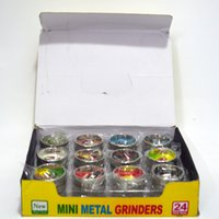 Wholesale Grinders Sale - Mini Metal Grinders for Tobacco 2-layer Dry Herb Grinder Crusher Filter Net Herbal Grinders Smoking Accessories Mix Designs Grinders Sale