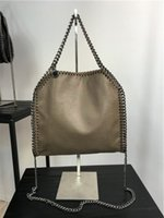 Wholesale Light Gray Handbag - size:26*25*10 cm high quality women pvc chain handbag gray 3 chains crossbody fold over ladies tote shoulder bags