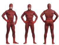 Wholesale Devil Suit Kids - Unisex Adult Kids Full Body Dare Devil Lycra Spandex Superhero Zentai Suits Halloween Costume S M L XL XXL