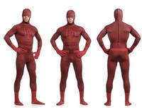 Wholesale Spandex Devil Costume - Unisex Adult Kids Full Body Dare Devil Lycra Spandex Superhero Zentai Suits Halloween Costume S M L XL XXL