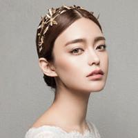 Wholesale Hair Accessories Dragonfly - Vintage Bridal Headband Dragonfly Wedding Tiara Crown Gold Bridal Hair Accessories Jewelry Two Rows Golden Hairband Women Tiara