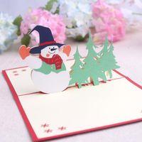 Wholesale Laser Cut Diy - 3D DIY Greeting Cards Xmas Cards Christmas Tree Holiday Christmas Greeting Card Thank You Laser Cut Card Xmas Accessories