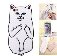 """Wholesale Cat Cell Case - For iPhone 5 5s   6 6s 4.7""""   6 Plus 5.5"""" RIPNDIP Pocket Cat Silicone Cell Phone Case Middle Finger Bad Cat iphone case cover D528"""