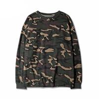 städtischen hip hop swag großhandel-Tarnung Hip Hop Swag T-shirts High Street Städtische Männer Langarm Kanye West Hipster Camo T Shirt Top Tees