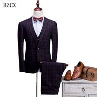 Wholesale Business Vests For Men - Wholesale-HZCX new arrival gentleman formal business S-XXL groom wedding mens suits solid blazer suit for men 3 piece (Jacket+Pants+Vest)