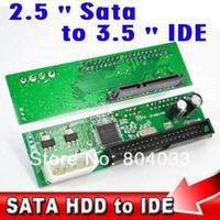 """Wholesale Hdd Adaptor - Wholesale- 2015 22Pin Sata 2.5"""" 3.5"""" to IDE 3.5"""" 44pin HDD Hard Disk Driver Adapter Converter Adaptor ATA 100 133 HDD DVD CD 4P Molex Power"""