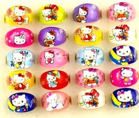 Wholesale Kids Party Rings - Brand New 100PCs Kitty Kids Round Cartoon resin children favor party jewelry rings wholesale job lots