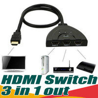 Wholesale Hdcp Hdmi Cable - 3 IN 1 OUT Pigtail HDMI Switch HDCP 1080P Hub V1.4B High Quality HDMI Switcher Splitter Adapter Cable For HDTV XBOX PS3 PC