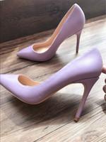 Wholesale Kids Purple Dress Shoes - Free shipping fashion sexy lady women pumps purple lambskin kid leather point toe high heels thin heels shoes boots 120mm 100mm
