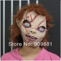 Wholesale Chucky Full Head Mask - Halloween Creepy Scary CHUCKY Mask Latex Full Head Adult Costume Masquerade Masks Chucky Rubber Hair Scar Face Cospaly Gift