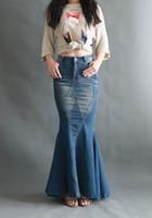 Las faldas largas de los pantalones vaqueros del vintage de las mujeres del  otoño de la primavera faldas ajustadas del bodycon faldas femeninas del  dril de ... 32989e149a53