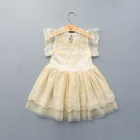 Wholesale Brand Baby Princess Dress - girls princess dress 2016 summer new lace Hook flower baby wedding dresses fashion brand children clothing wholesale 5pcs lot