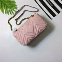 Wholesale Soho Bags - TOP Quality Marmont Famous Handbag Vintage Brand Gold Chain and Hardware Cowhide W V Pattern Shoulder Purse Disco Soho Bag 443497 175243810