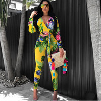 Wholesale Sexy Leggings Two Piece - 2017 autumn tie dye women 2 piece pants sets Sexy print long sleeve crop top and leggings african outfit flower bomb suits