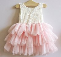Barato Vestido Da Flor Das Vendas Por Atacado Dos Miúdos-New Kids Girls Tutu Ruffles Lace Dress Bordado Flower Mesh Party Pink Color Dress para 2-7years Baby Girls Wholesale 5pcs / lot