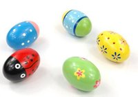 Wholesale Egg Rattle - Blue Color Wooden Sand Egg Rattle Musical Instrument Percussion Instrument Toy Baby