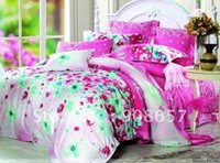 Wholesale Magenta Bedding Sets Flowers - 4pcs Queen bed in a bag sets 100% Egyptian cotton green magenta flower floral pattern printed duvet covers with sheets bed linen