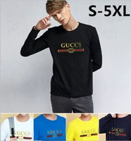 Wholesale Blue T Shirts For Men - New Men Fashion Solid T-shirt Spring Men's Brand letter Print Long Sleeve Slim Shirt Cotton Clothing casual Mens O-neck Tops Tshirt for Man