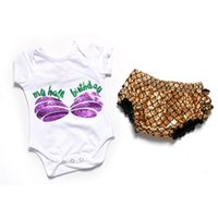Wholesale Wholesale Birthday Bloomers - Summer Kids Clothing Set Mermaid Baby Bloomer Set Gold Mermaild Baby Birthday Outfit European and American Style