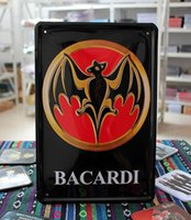 Wholesale Antiques Free Shipping - Wholesale- Rum Bacardi Metal Tin Signs Plate Sign House Cafe Restaurant Bar Poster Antique Imitation Iron Painting Free Shipping 30*20cm