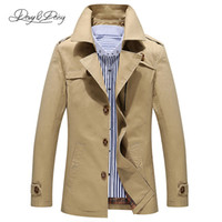 Wholesale Trench Coat Men 4xl - Fall-New Arrival Trench Coat Men Cotton Solid Single Breasted Turn-Down Collar Windbreaker Long Coats Plus Size Jacket M-5XL DCT-002