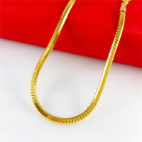 Wholesale 4mm Gold Chain - 18k Gold Necklace Italian 4mm Miami Cuban Curb Link Chain Necklace Men Necklace