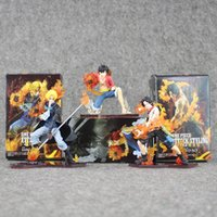 Wholesale One Piece Ship Figure Wholesale - 9-13.5cm One Piece Monkey D Luffy Sabo ACE PVC Action Figure Toy Gift For Children With Box Free shipping retail