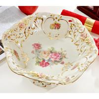 Wholesale Decorative Porcelain Flowers - Porcelain fruit bowl ivory porcelain flower design hollow out outline in gold decorative fruit bowls big fruit bowl luxury gift