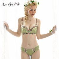 Wholesale Magic Bra Set - Cotton Lingerie Set Stripe Green Bra Set Embroidery Lace Flower Rim Underwear Magic the Gatering Push Up Bra And Panty Set N61