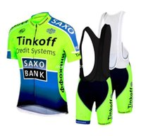 Wholesale Saxo Shorts - 2016 saxo bank tinkoff Team fluorescence green cycling jersey short sleeve Ropa Ciclismo bicicletas maillot ciclismo