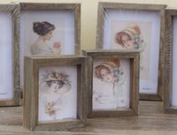 Wholesale Gift Cards Pictures - Vintage Wood Beauty Photo Frame with Mirror Creative Home Decoration Desktop Card Picture Holder Birthday Gifts home decor