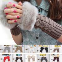 Wholesale Ladies Hand Gloves - Free Shipping Women Lady Winter Knitted Fingerless gloves adult woman Faux Rabbit Fur Wrist Hand Warmer Gloves Mitten
