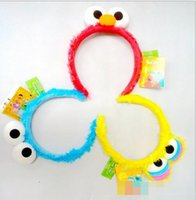 Wholesale Animal Elmo - 15% off! New 2016 Hot Sale Monster Headband Headwear Big Eyes Sesame Street Plush Hair Accessories Elmo hair hoop girl Hair Accessories 5pcs
