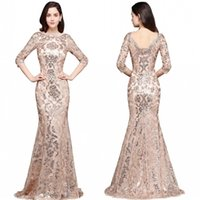 Wholesale full length occasion dresses for sale - 2018 Special Design Rose Gold Designer Occasion Dresses Mermaid Long Sleeves Full Sequins Lace Evening Dress Luxury Prom Party Gowns CPS634