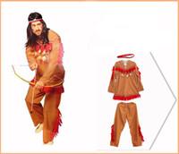 roupa indiana frete grátis venda por atacado-Trajes de Halloween Adulto Homens Africano Original Indiano Savage Costume Adultos Cosplay Selvagem Roupas de Halloween Para Os Homens Frete Grátis Por Atacado